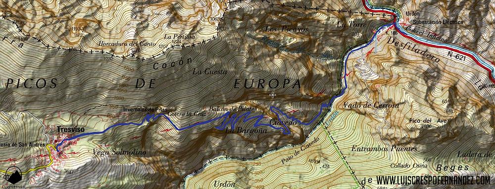 mapa ruta urdón - tresviso por la senda de la peña