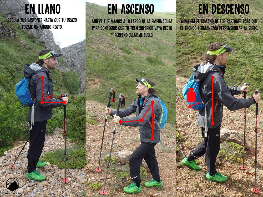 Ajuste para los bastones de montaña tanto en terreno llano, como en ascenso y descenso.