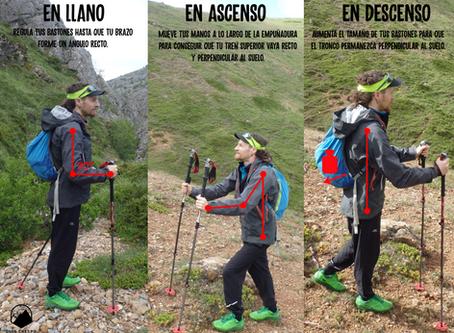 Uso y ajuste de los bastones de montaña