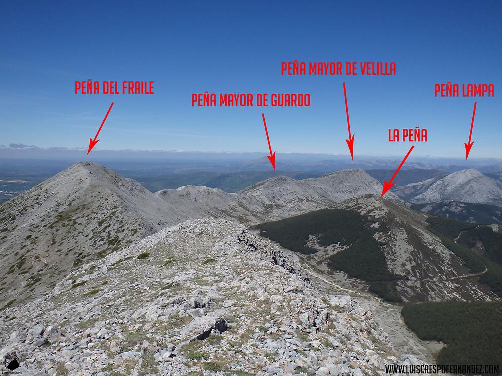 Vistas desde la cima de la Peña del Fraile hacia el oeste.