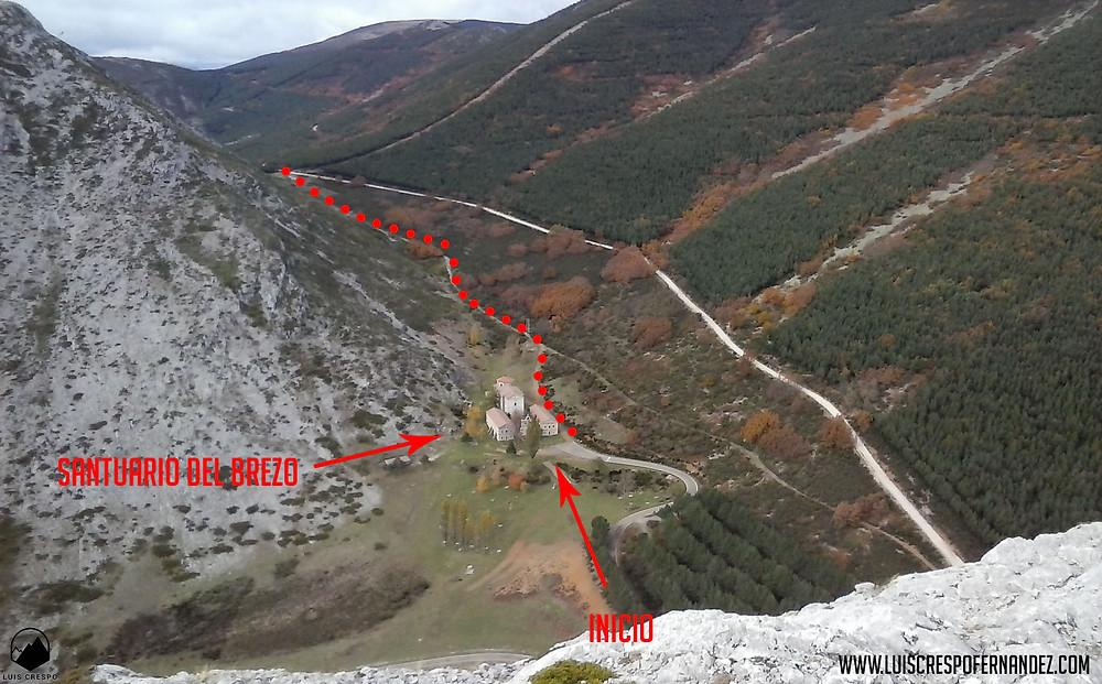 Vistas del Santuario del Brezo y del inicio de la ruta desde la cima de la Peña de la Cruz.