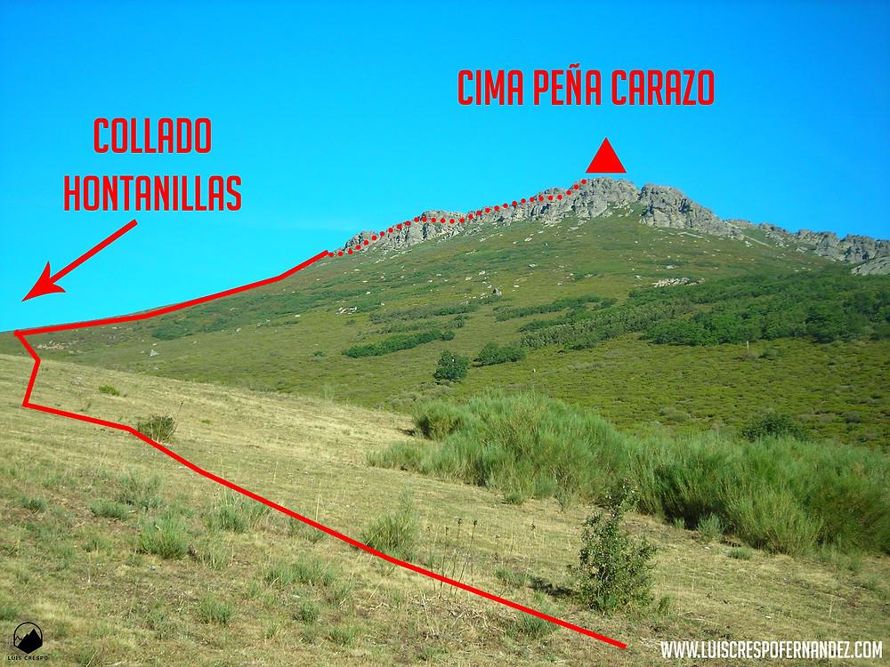 En las cercanías del collado de Hontanillas viendo el farallón rocoso de Peña Carazo.