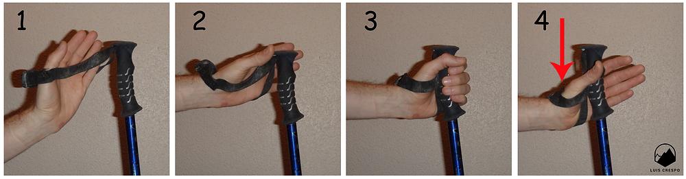 Cómo utilizar la mano en los bastones de montaña