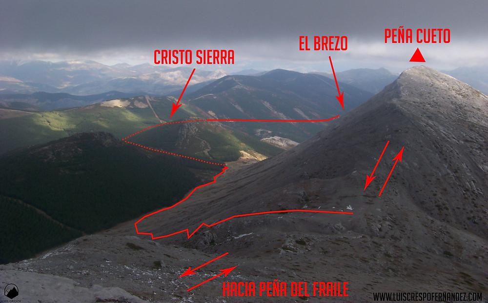Un vistazo atrás antes de los últimos metros previos a la cima de la Peña del Fraile.