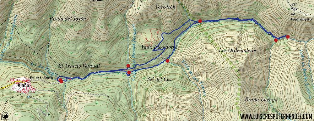 mapa con el recorrido ruta cascadas de viaña cabuérniga