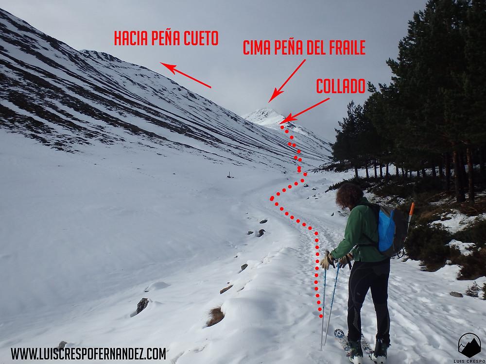 Últimos metros de pista antes de afrontar la subida hasta el collado entre Peña Cueto y la Peña del Fraile.