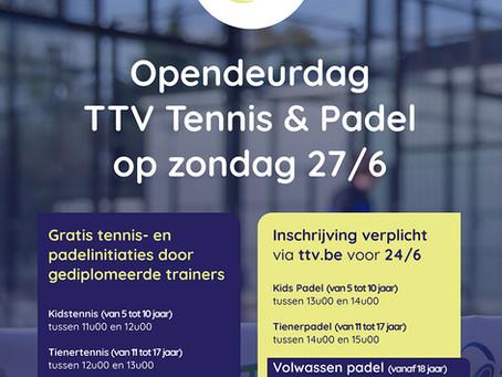 Opendeurdag TTV Tennis & Padel op zondag 27/6