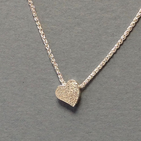 West Country Heart Necklace - Textured Sterling Silver