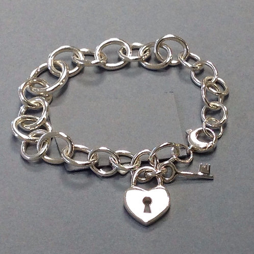 Heart Locket and Key Link Bracelet -Sterling Silver