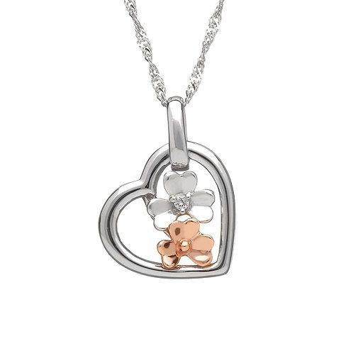 Valentines Diamond set White Gold Love Shamrock - Part Irish Gold