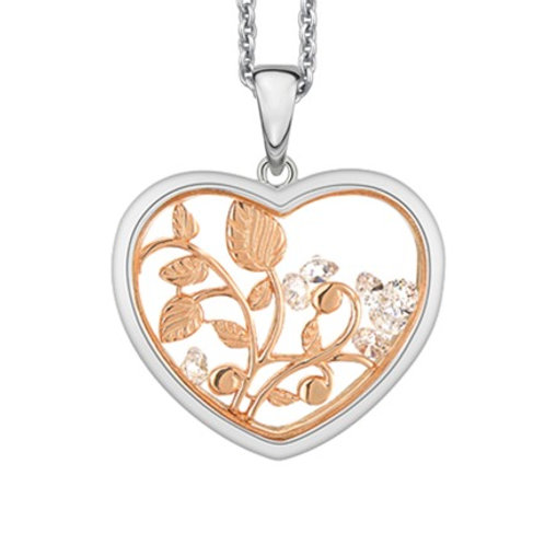 Valentines Love Blossoms Heart Necklace  -  Sterling Silver