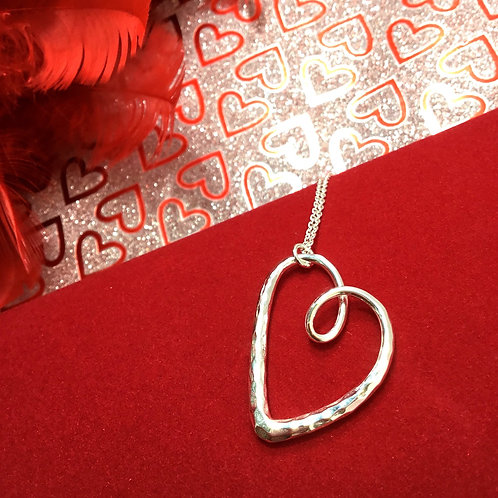Valentines Heart Necklace  -  Sterling Silver