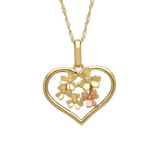 Valentines Diamond set 9ct Gold Love Shamrock - Part Irish Gold