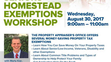 Seniors Homestead Exemptions Workshop