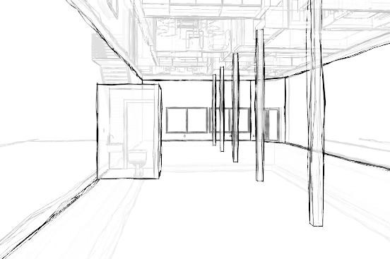 finished lower level commercial space sketch