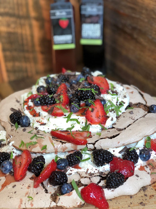 Chocolate Pavlova with Strawberry Balsamic Soaked Fruit