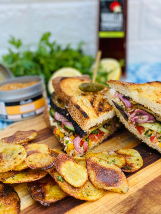 Dukkah Roasted Eggplant Sandwich