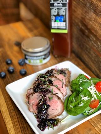 Blueberry Balsamic Glazed Pork Loin