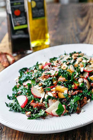 Warm Bacon and Kale Salad with a Sun Dried Tomato Vinaigrette