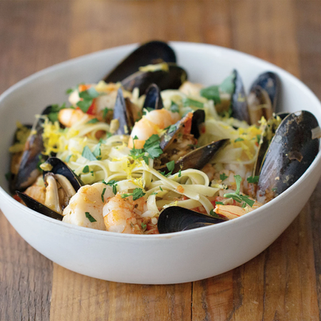 Seafood Medley Pasta With Spinach Olive Fettuccine