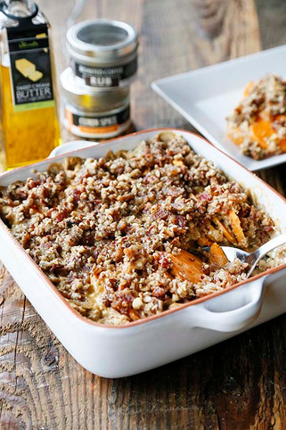 Bourbon Sweet Potato Gratin with a Bacon Pecan Crumble