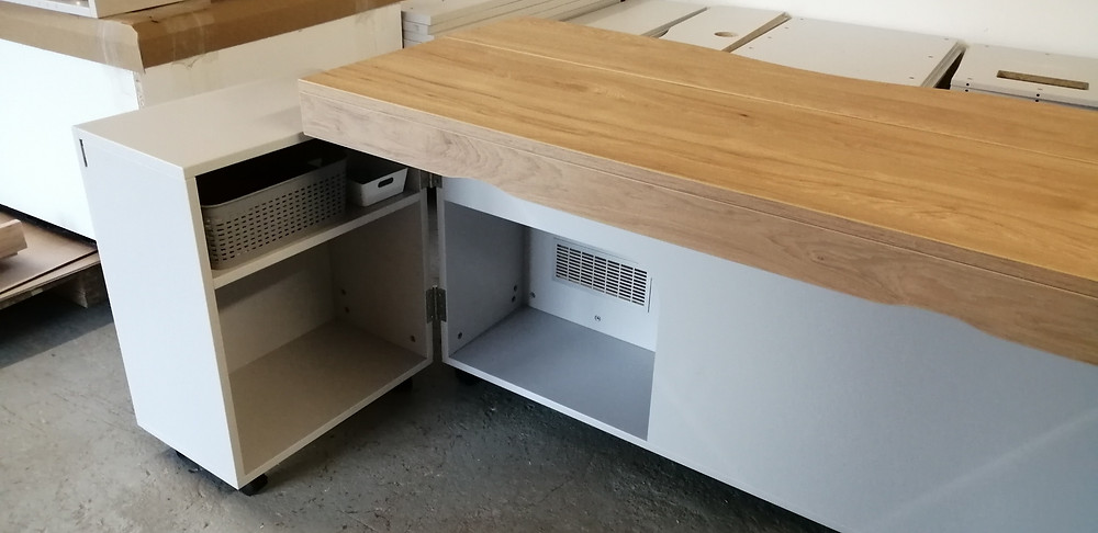 A home working desk with hidden printer drawer