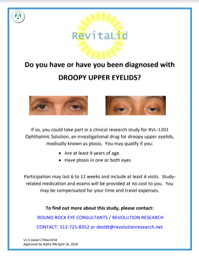Are You A Candidate for A Clinical Research Study for Droopy Upper Eyelids (Ptosis)?