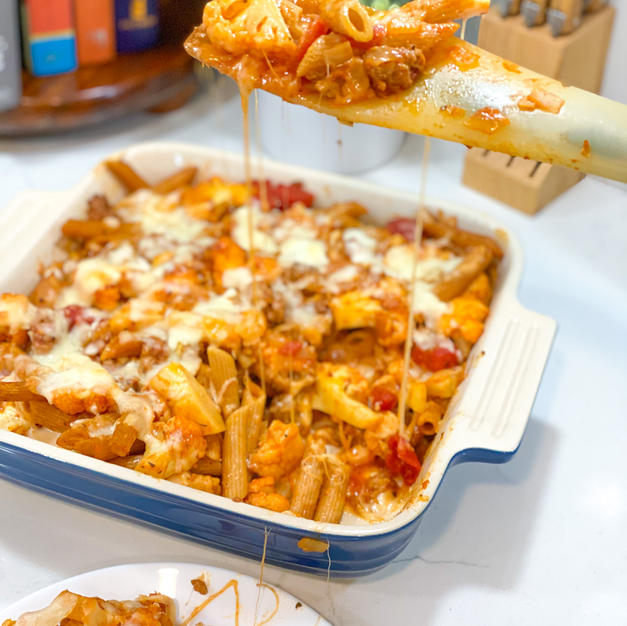 """Lower Carb """"Meaty"""" Baked Cauliflower Penne"""
