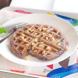 Overnight Ube Waffles & Coconut Syrup