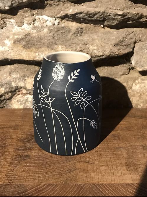 Dark Blue Stoneware Dome Vase