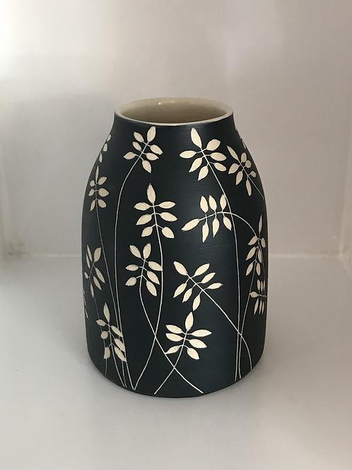 Dark Blue Sgraffito Vase