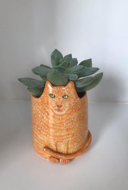 Stoneware Cat Vase