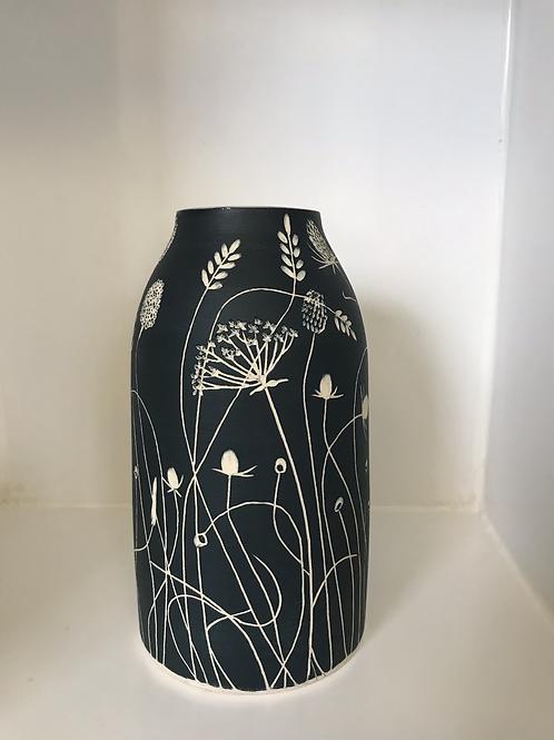 Deep Blue Stoneware Vase