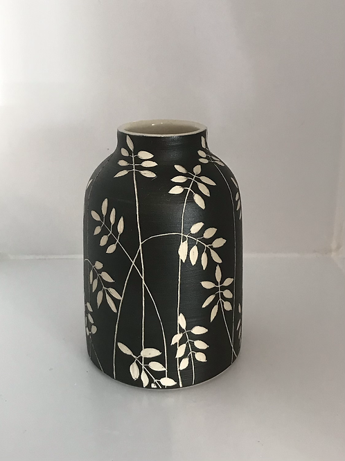 Black Sgraffito Vase