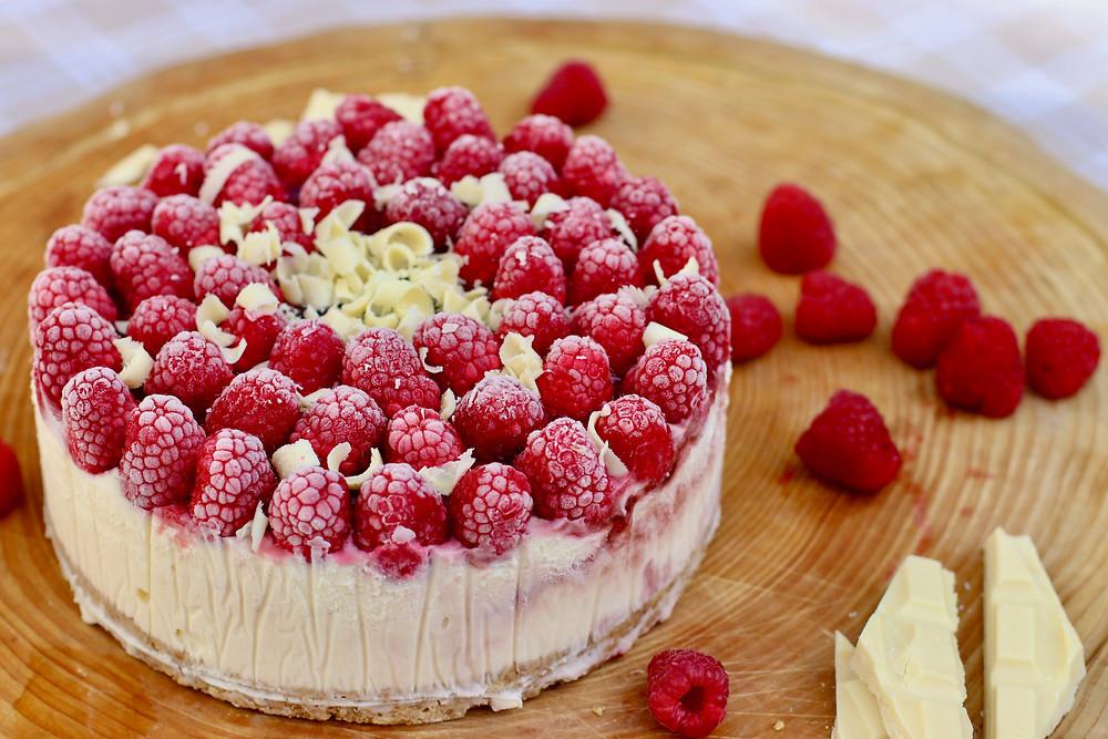 Recette du Cheesecake Chocolat Blanc Framboise (sans cuisson)