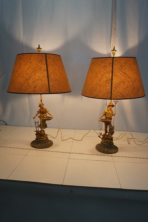 Pair Of 1950s Figural Table Lamps - Iron And Hand Painted Fa