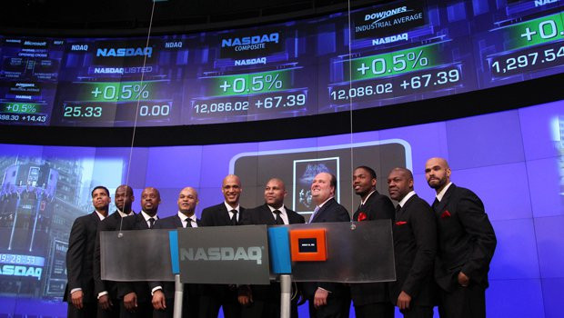 Layon and Cast ring NASDAQ Opening Bell