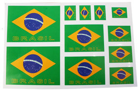 11CaStSeBr - 11 Car Stickers Set Brazil PVC