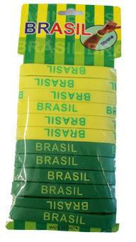 BrSiBrWi12Pa - Brazil Silicone Bracelet Wide 12 Pk