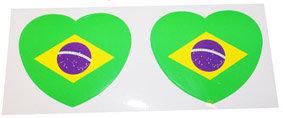 2CaStSeBrHe - 2 Car Stickers Set Brazilian Heart