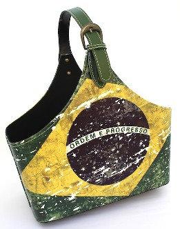 BrMaBa - Brazil Leather Magazine Basket