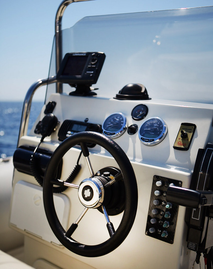 Cockpit of Scorpion 810 G2, available for charter around the Greek Cycladic islands.