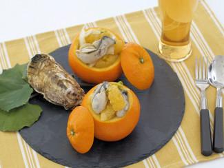牡蠣と伊予柑のオイル和え
