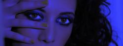ritratto studio make up purple