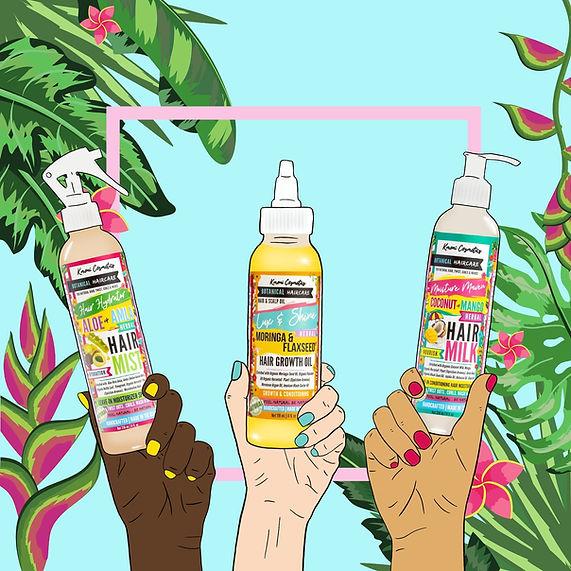 Kmoni Cosmetics Botanical Haircare Illustration