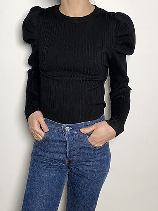 ribbed top with puff sleeves