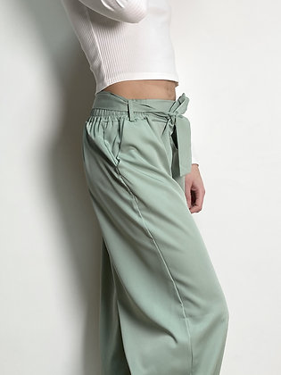 light green relaxed flared trousers