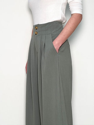 light green high waisted wide trousers
