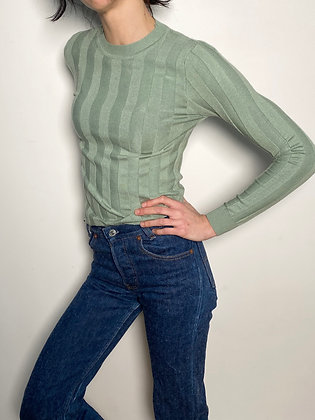 light green ribbed sweater