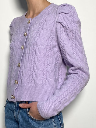 lilac button up knit sweater